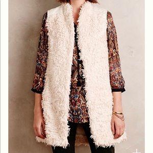 Anthropologie embroidered fur vest